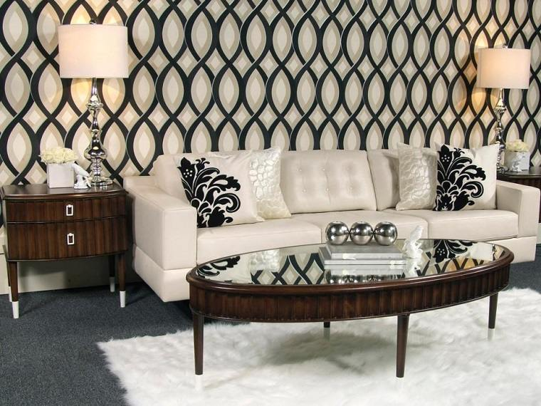 blanco y negro combinacion salon moderno mesitas madera ideas