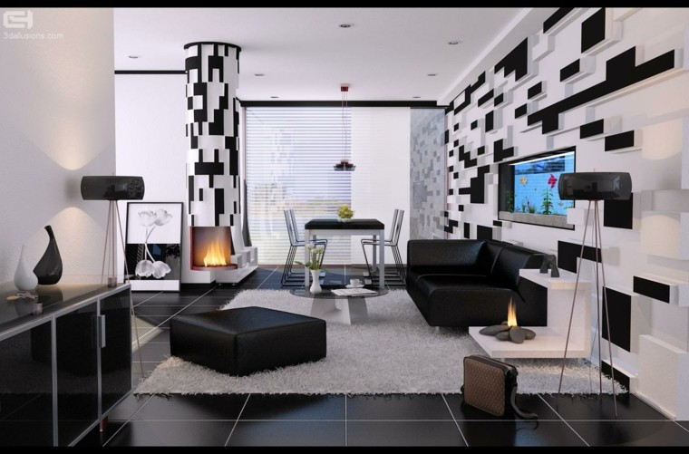 blanco y negro combinacion salon moderno pared creativa ideas