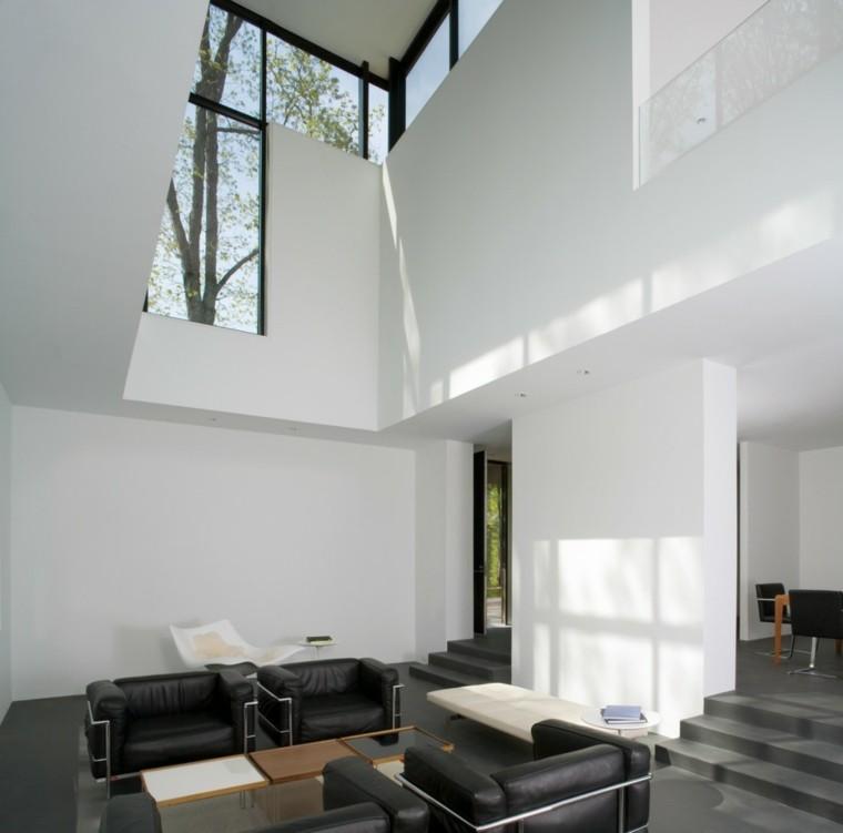 blanco y negro combinacion salon moderno sillones cuero ideas