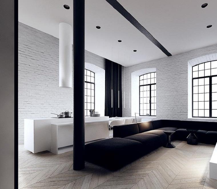 Blanco y negro 50 ideas para el sal n moderno y elegante - Salones con sofa negro ...