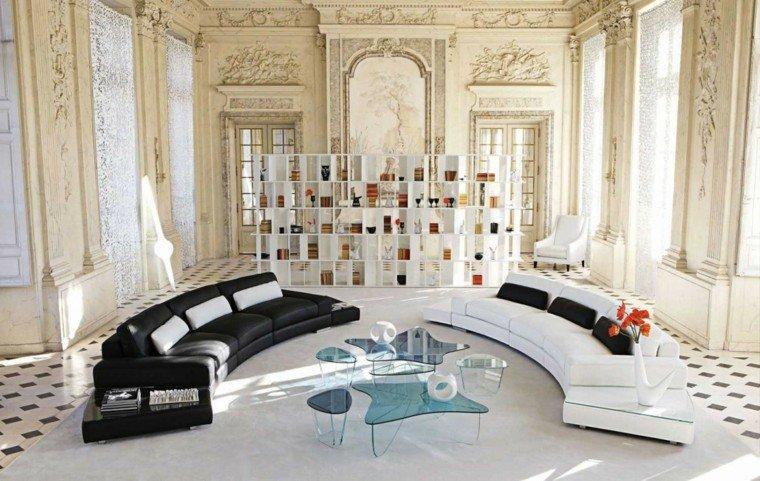 blanco y negro combinacion salon moderno sofas grandes ideas