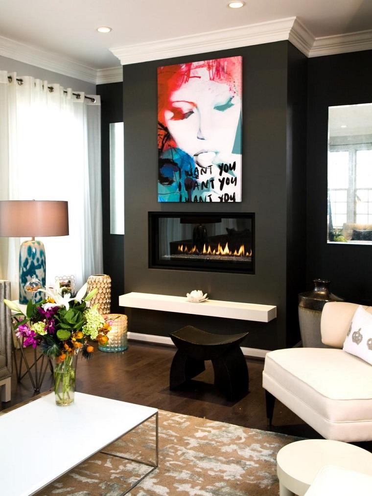 blanco y negro combinacion salon moderno taburete chimenea ideas