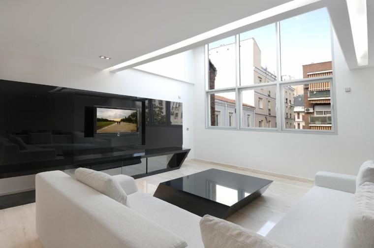 blanco y negro combinacion salon moderno pared brillante ideas
