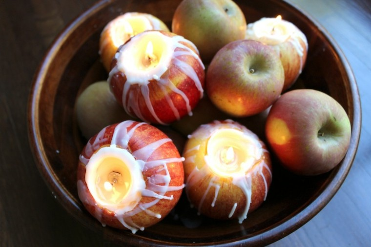 cuenco manzanas recortadas velas