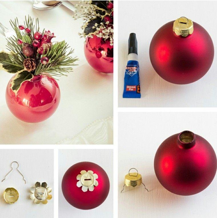 adornos para navidad bola navidades roja florero