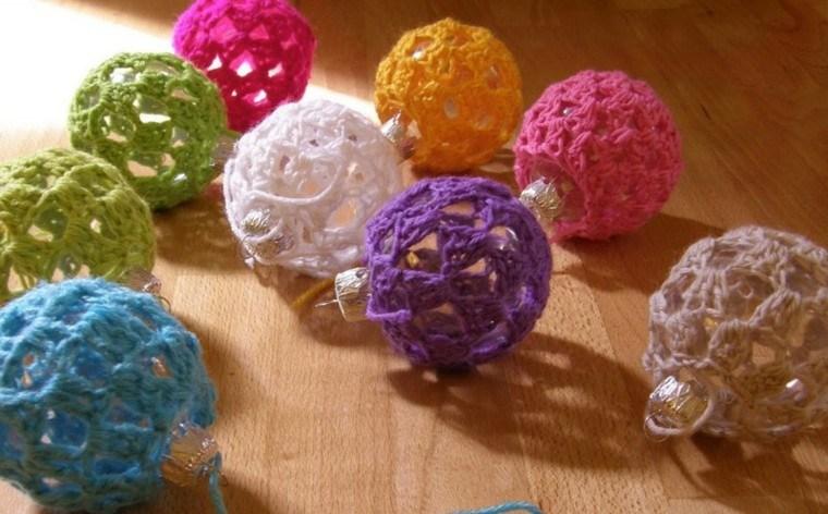 adornos para navidad bolas navideas crochet colores