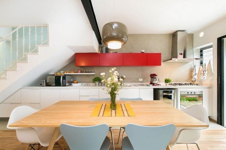bonita cocina mesa madera natural