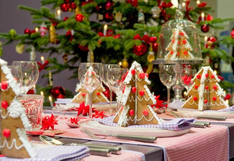 bonita mesa decorada adronos navideños