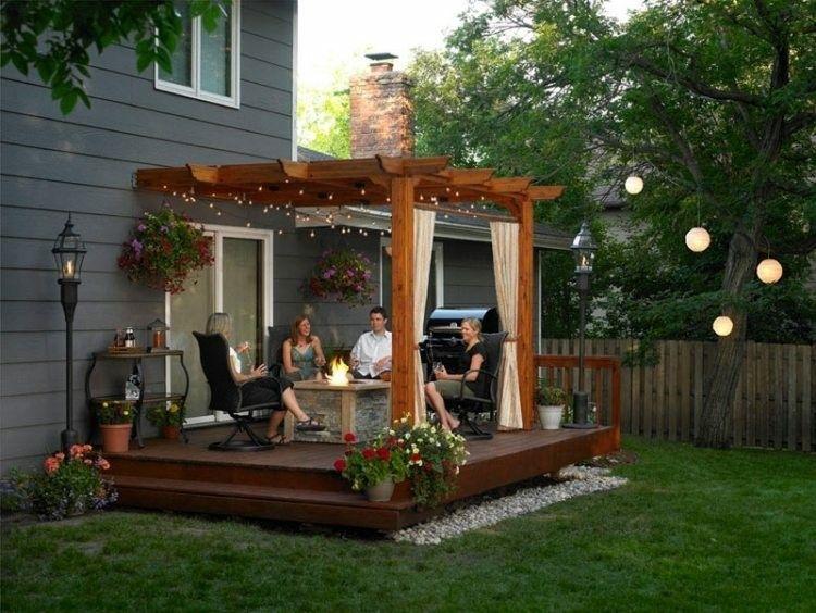 bonita pergola plataforma porche madera