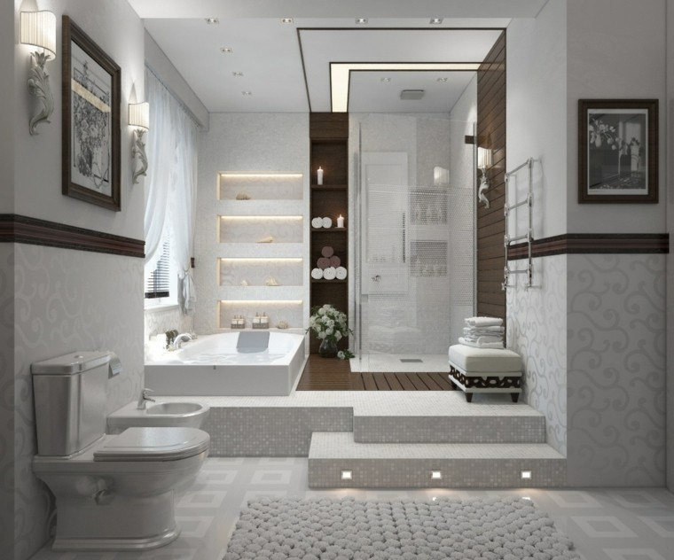 Ba os modernos con ducha cincuenta ideas estupendas - Disenos de banos completos ...