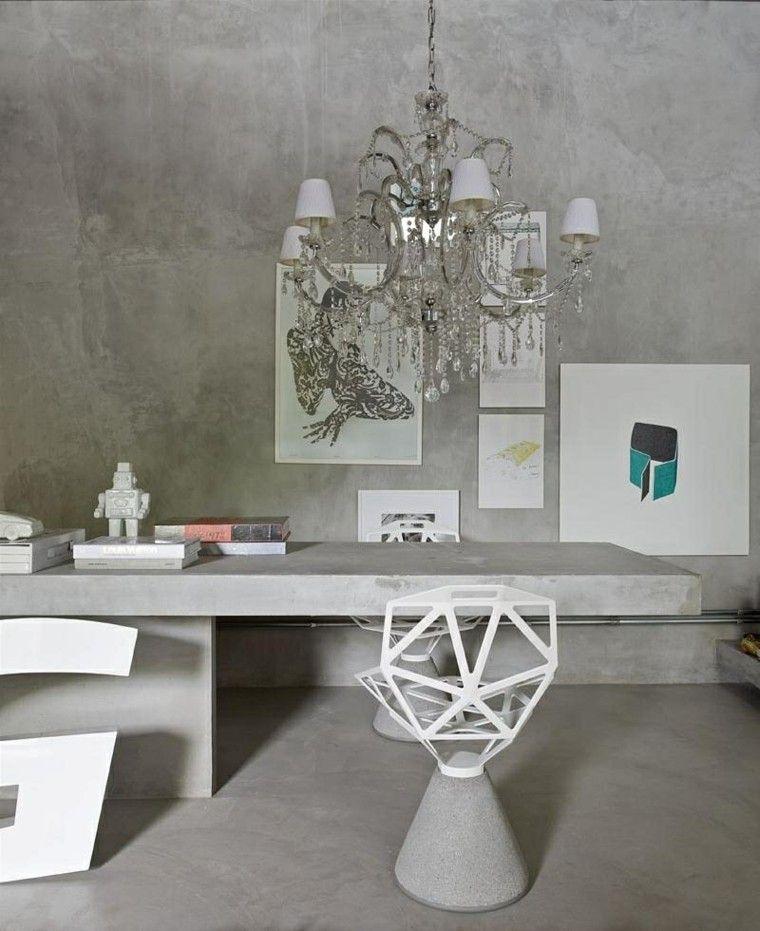 bonito diseño mesa trabajo cemento