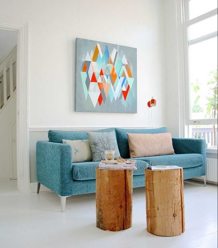 Azul y blanco los colores de moda para interiores - Tableaux modernes colores ...