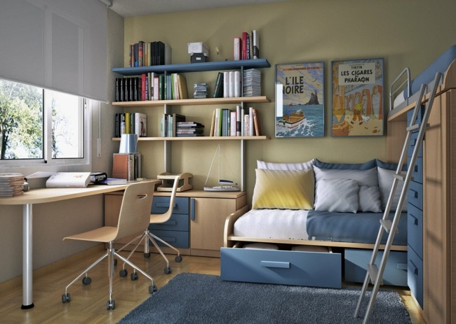 bonito diseño cuarto joven azul