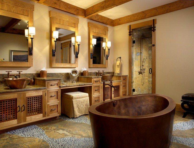 bonito diseño bañera moderna rustica