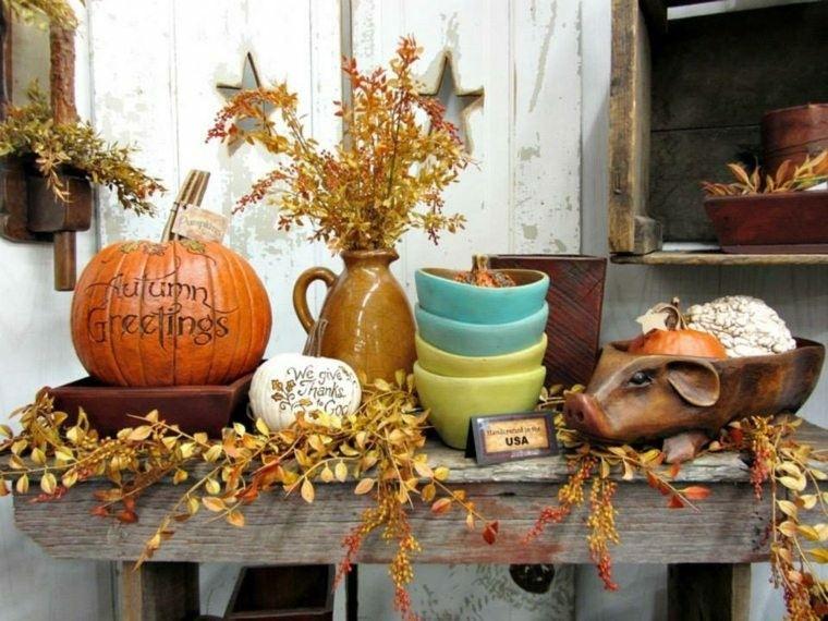 bonitos adronos otoño colores calabaza