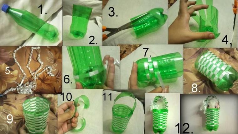 botella color verde soporte muñeco