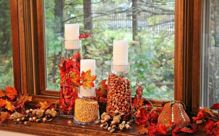 botes vidrio adornados otoño