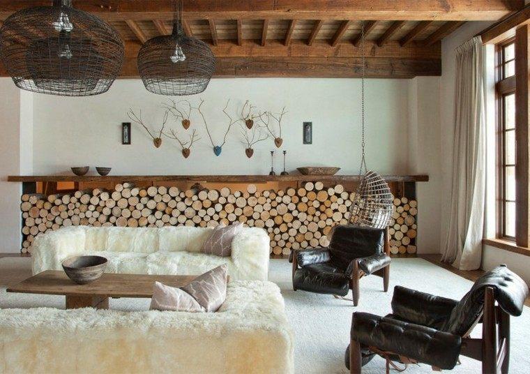 cabaña calido cuero sillones troncos