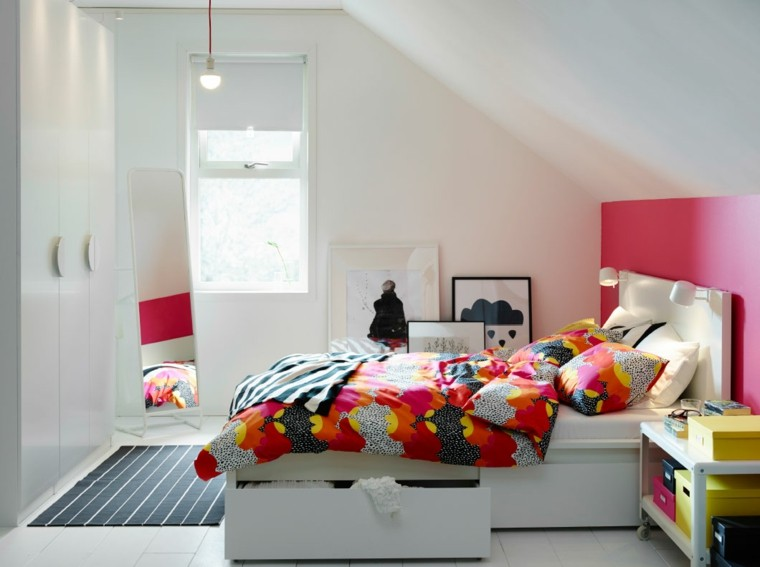 cabecero cama color coral rojo