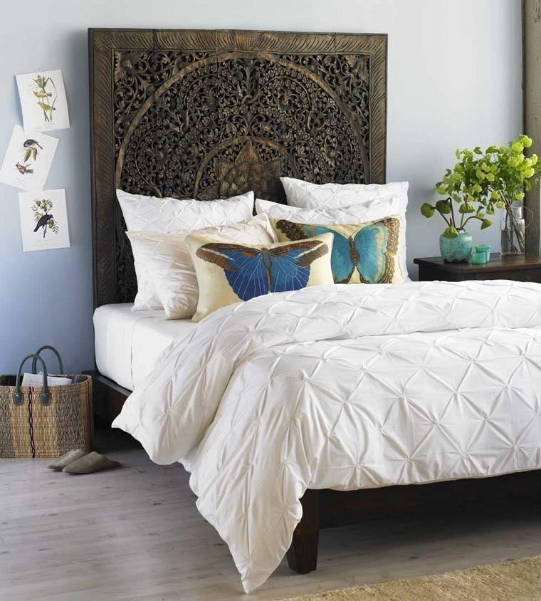 cabecero cama dormitorio moderno acabados madera ideas