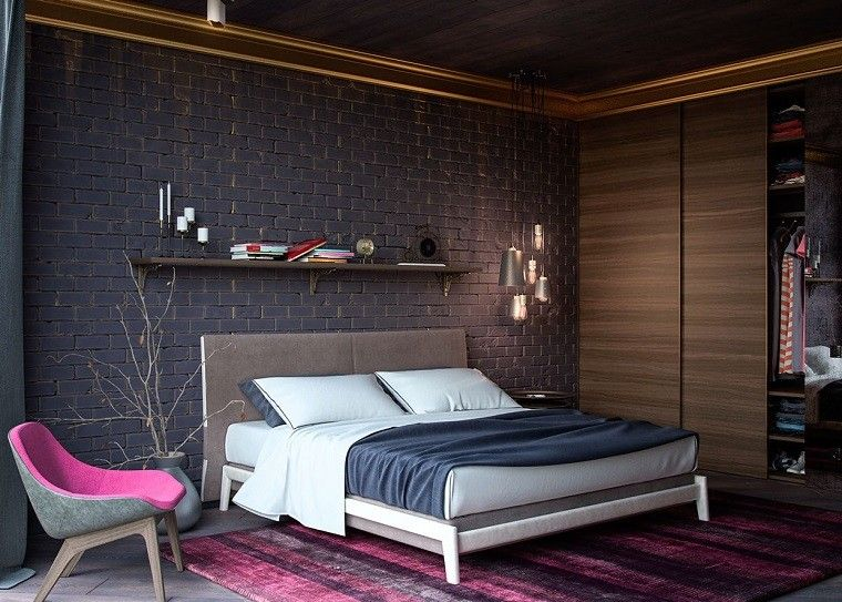 cabecero cama dormitorio moderno alfombra rosa ideas