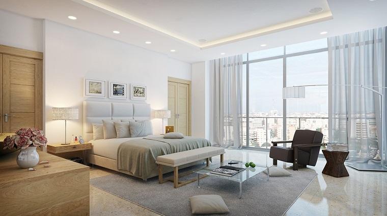 cabecero cama dormitorio moderno amplio luminoso ideas