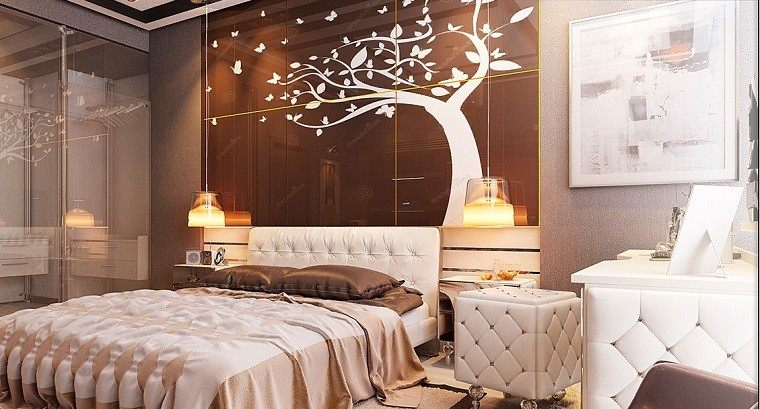 cabecero cama dormitorio moderno arbol pared ideas