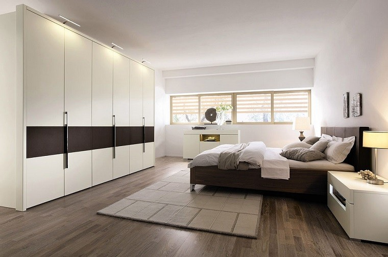 cabecero cama dormitorio moderno armario blanco grande ideas