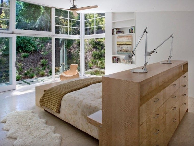 cabecero cama dormitorio moderno armario madera ideas