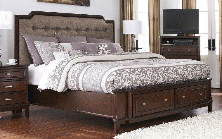 cabecero cama dormitorio moderno armarios madera ideas