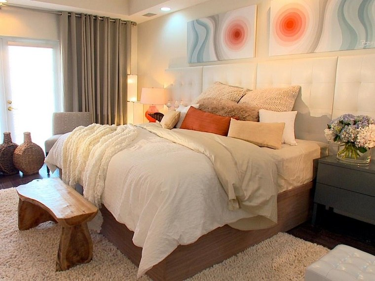 cabecero cama dormitorio moderno banco madera ideas