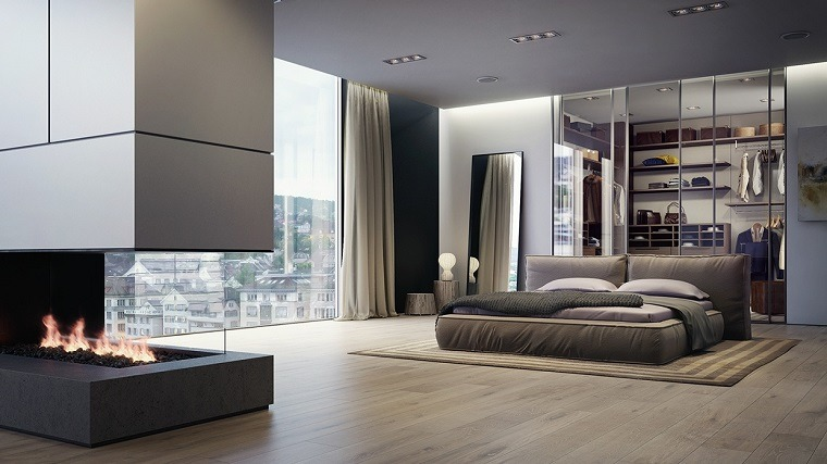cabecero cama dormitorio moderno chimenea pared ideas