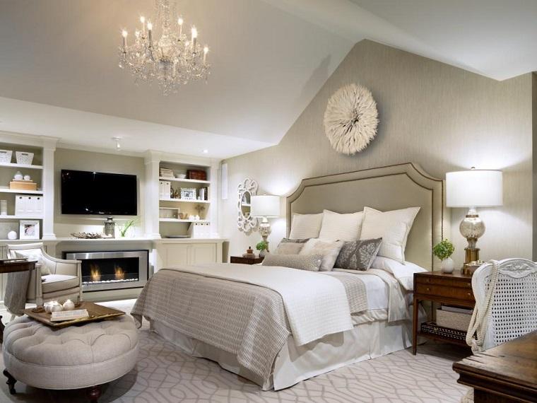 cabecero cama dormitorio moderno chimenea tradicional ideas