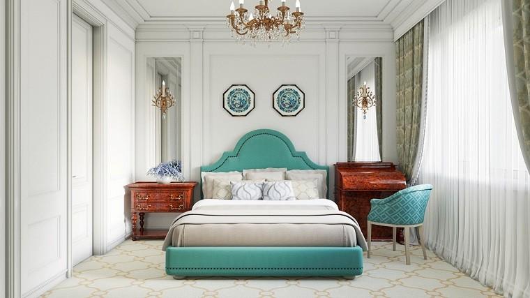 cabecero cama dormitorio moderno color verde claro ideas