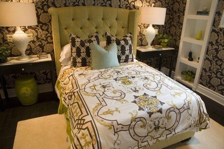 cabecero cama dormitorio moderno color verde vibrante ideas