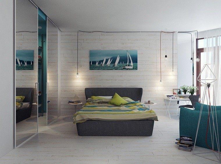 cabecero cama dormitorio moderno cuadro precioso ideas