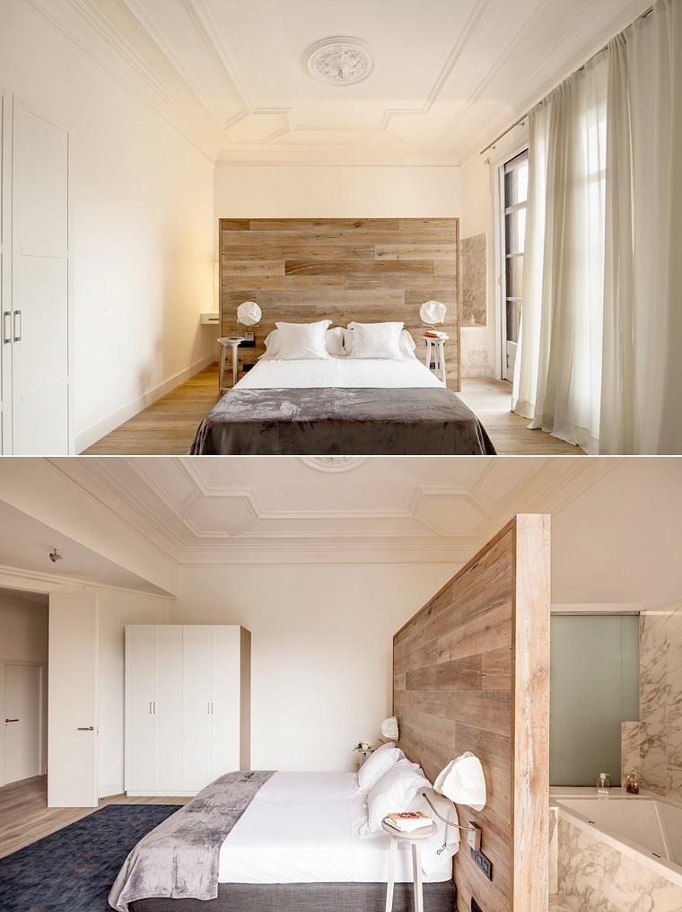 cabecero cama dormitorio moderno diseno estilo rustico ideas