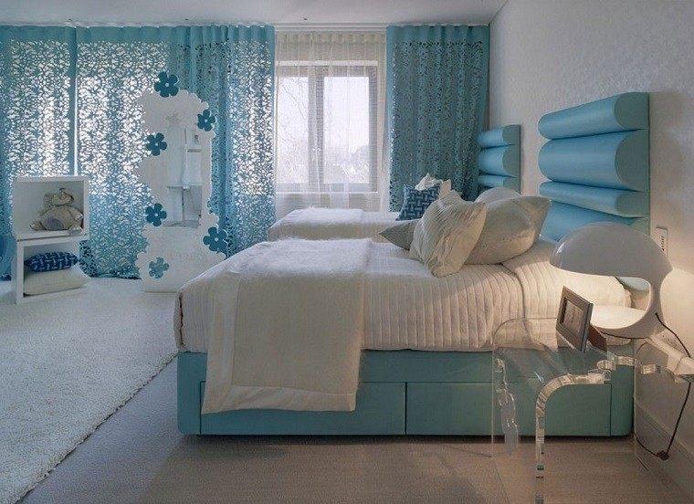 cabecero cama dormitorio moderno dos camas ideas