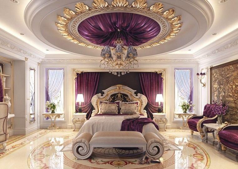 cabecero cama dormitorio moderno lujoso color purpura ideas