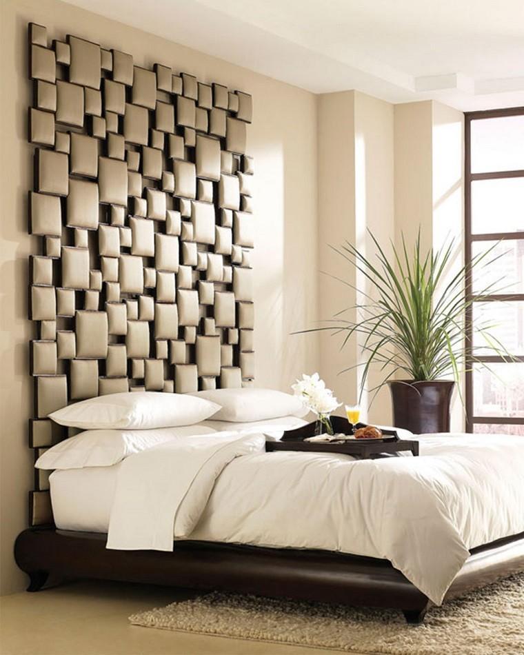 cabecero cama dormitorio moderno mosaico techo ideas