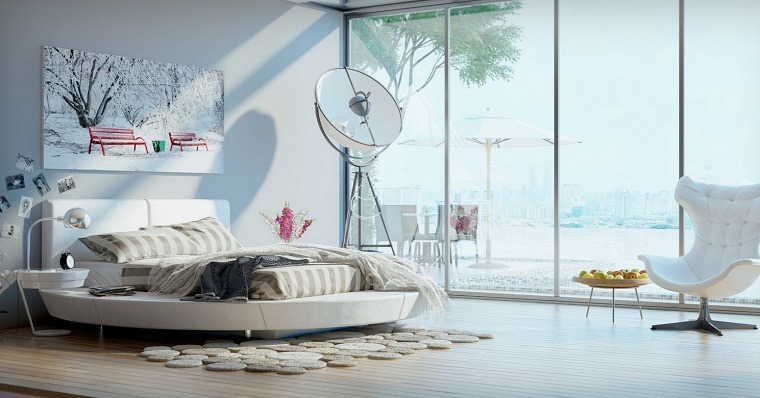 cabecero cama dormitorio moderno pltaforma redonda ideas