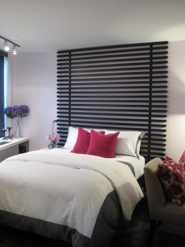 cabecero cama dormitorio moderno rejas madera negra ideas
