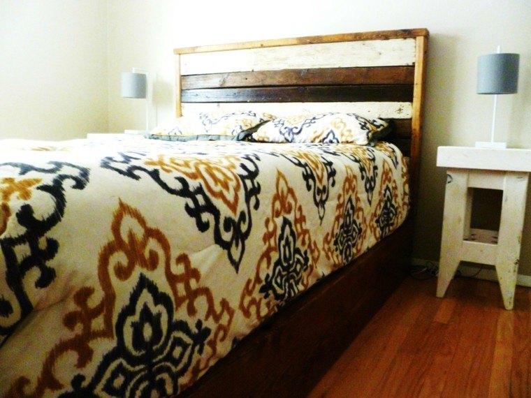 cabecero cama listones madera colores