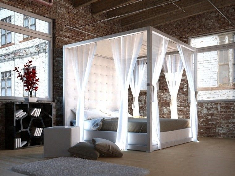 cabeceros originales cama dormitorio moderno dosel cortinas blancas ideas with ideas cabeceros