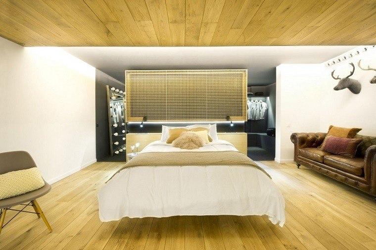 cabeceros originales cama dormitorio moderno loft iluminado ideas