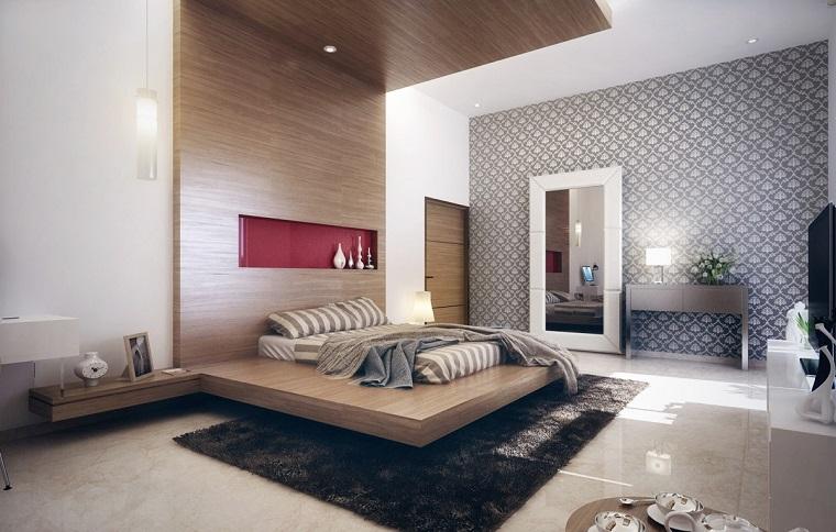 ccabeceros originales cama dormitorio moderno madera hasta techo ideas