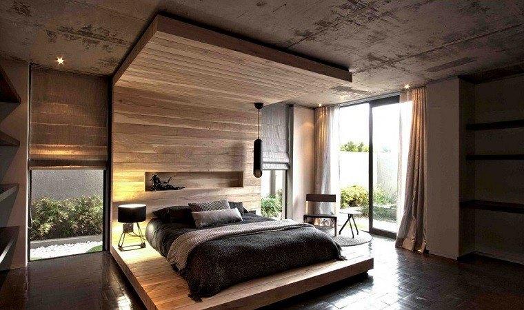 cabeceros originales cama dormitorio moderno madera suelo
