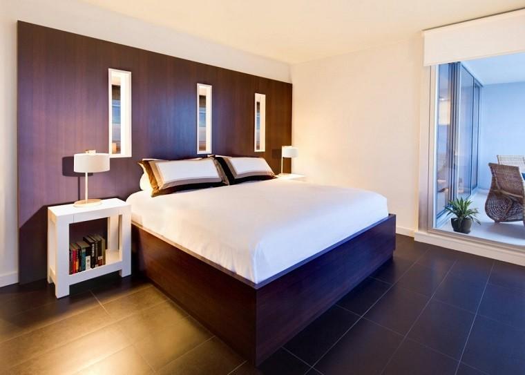 cabeceros originales cama dormitorio moderno mesita noche blanca idea