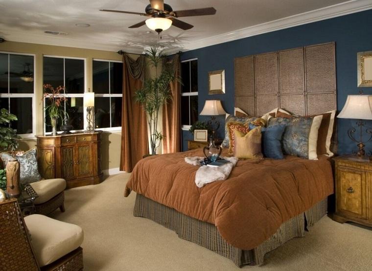 cabeceros originales cama dormitorio moderno pared azul ideas