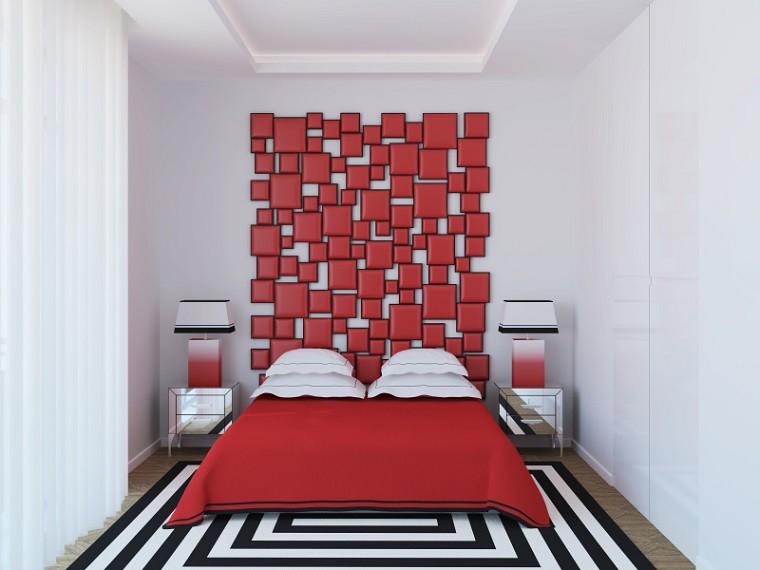 cabeceros originales cama dormitorio moderno rojo vibrante ideas